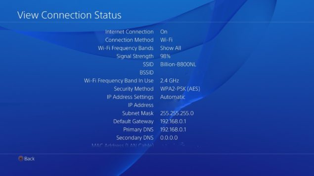 PS4 Connection Type