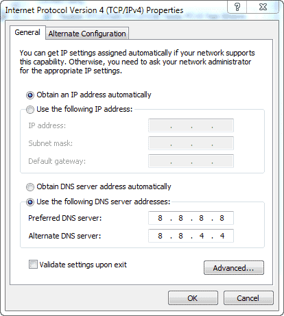 DNS Settings Screen Windows